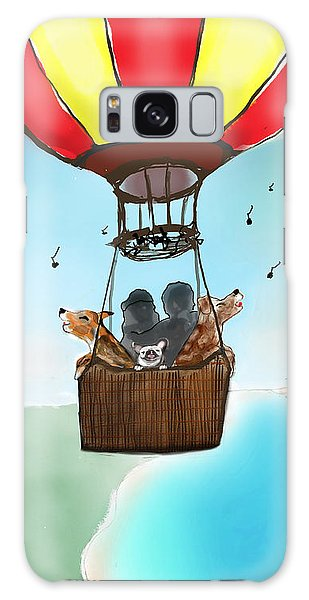 3 Dogs Singing In A Hot Air Balloon Galaxy Case