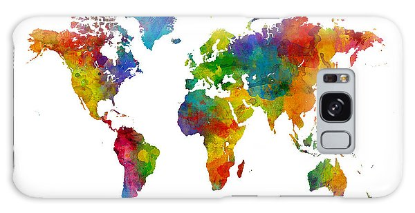 Planets Galaxy S8 Case - Map Of The World Map Watercolor by Michael Tompsett
