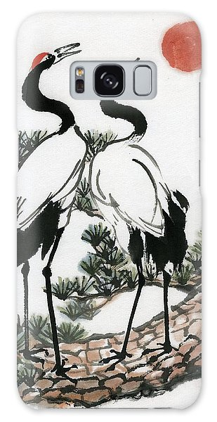 Red Crowned Crane Galaxy Case