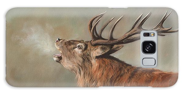 Red Deer Stag Galaxy Case by David Stribbling