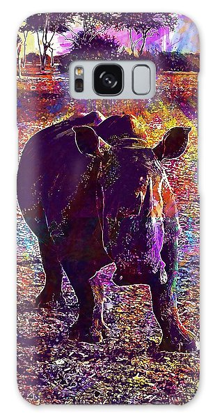 Galaxy Case featuring the digital art Rhino Africa Namibia Nature Dry  by PixBreak Art