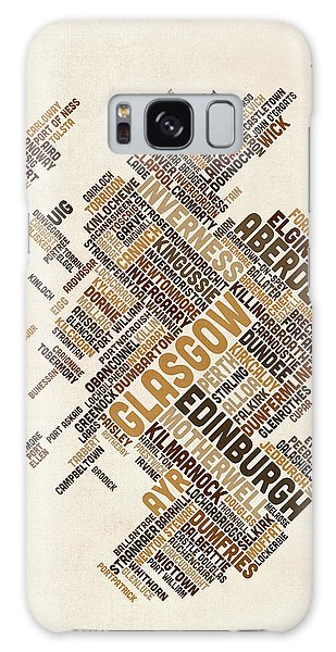 Text Map Galaxy Case - Scotland Typography Text Map by Michael Tompsett