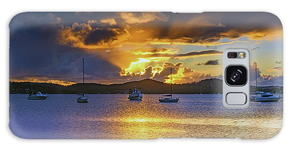 Sunrise Waterscape With Clouds And Boats Galaxy Case