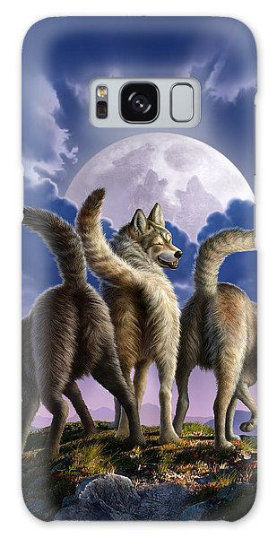 3 Wolves Mooning Galaxy Case by Jerry LoFaro