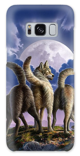 Funny Galaxy Case - 3 Wolves Mooning by Jerry LoFaro