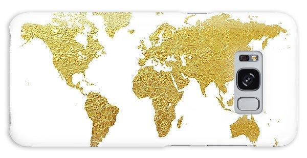 Gold Galaxy Case - World Map Gold Foil by Michael Tompsett