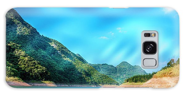 The Mountains And Reservoir Scenery With Blue Sky Galaxy Case