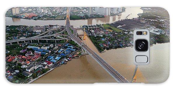Galaxy Case featuring the photograph Bhumibol Bridge Aerial View At Sunrise by Pradeep Raja PRINTS