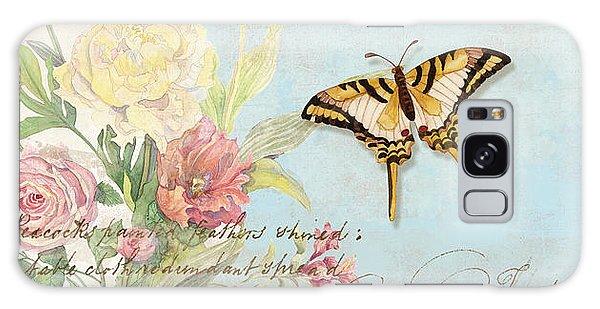 Fleurs De Pivoine - Watercolor W Butterflies In A French Vintage Wallpaper Style Galaxy Case