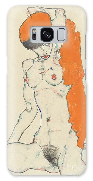 Sitting Nude Galaxy Case - Standing Nude With Orange Drapery by Egon Schiele