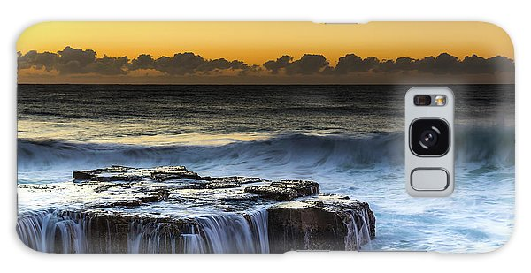 Sunrise Seascape With Cascades Over The Rock Ledge Galaxy Case