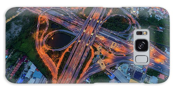 Galaxy Case featuring the photograph Aerial View Of Traffic Jams At Nonthaburi Intersection In The Evening, Bangkok. by Pradeep Raja PRINTS