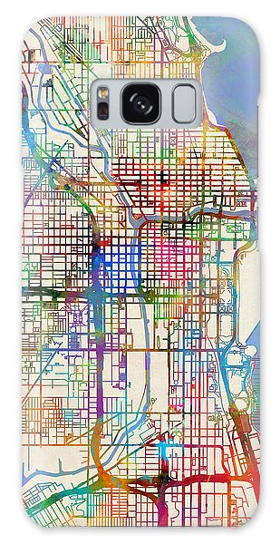 Sears Tower Galaxy S8 Case - Chicago City Street Map by Michael Tompsett