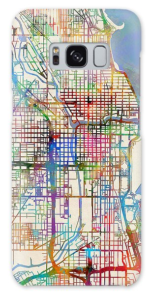 City Map Galaxy Case - Chicago City Street Map by Michael Tompsett