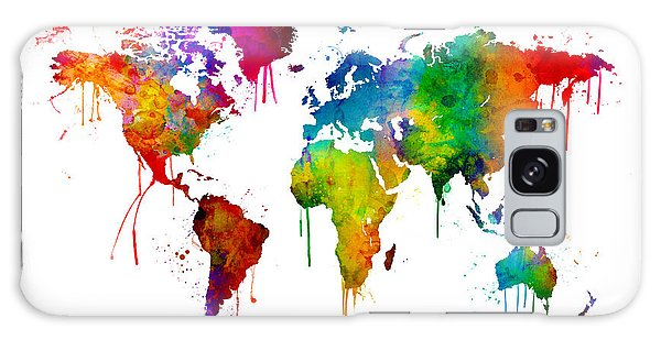 Bright Galaxy Case - Watercolor Map Of The World Map by Michael Tompsett