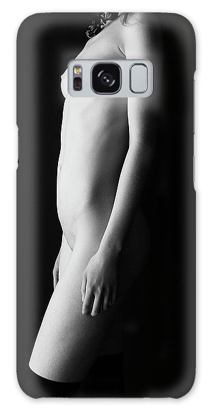 Young Woman In Front Of Black Wall Galaxy Case