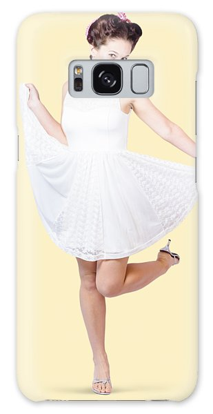 Vivacious Galaxy Case - 50s Pinup Woman In White Dress Dancing by Jorgo Photography - Wall Art Gallery