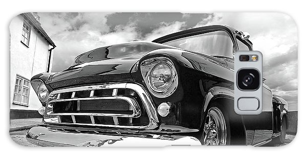57 Stepside Chevy In Black And White Galaxy Case