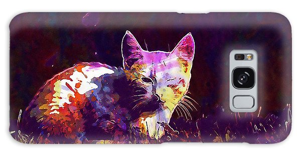 Galaxy Case featuring the digital art Cat Eye Injury One Eye Village  by PixBreak Art