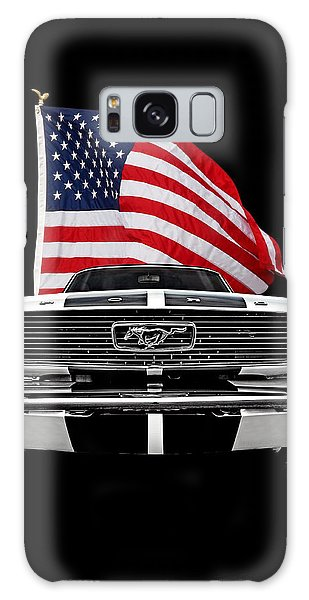 66 Mustang With U.s. Flag On Black Galaxy Case