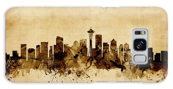 Seattle Washington Skyline Galaxy Case by Michael Tompsett