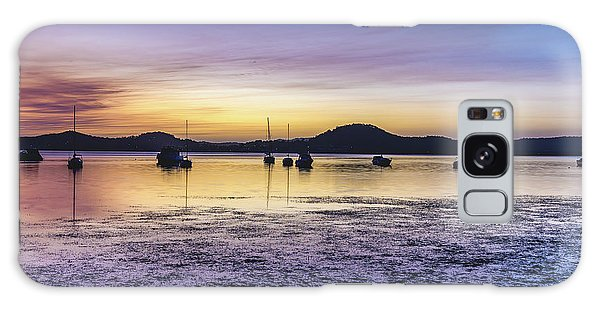Dawn Waterscape Over The Bay With Boats Galaxy Case