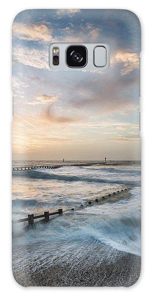 Breaking Dawn Galaxy Case - Beautiful Dramatic Stormy Landscape Image Of Waves Crashing Onto by Matthew Gibson
