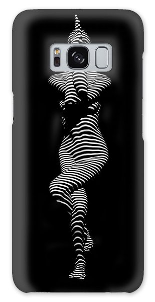 9486-dja Yoga Woman Illuminated In Stripes Zebra Black White Absraction Photograph By Chris Maher Galaxy Case
