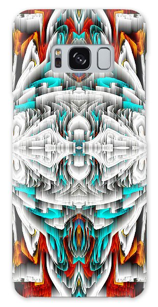 Galaxy Case featuring the digital art 992.042212mirror2ornateredablue-1 by Kris Haas