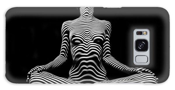 9934-dja Lotus Position In Zebra Stripes  Galaxy Case