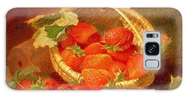 A Basket Of Strawberries On A Stone Ledge Galaxy Case