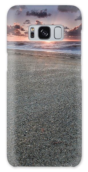 A Beach During Sunset With Glowing Sky Galaxy Case