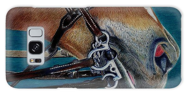 A Bit Of Control - Horse Bridle Painting Galaxy Case by Patricia Barmatz