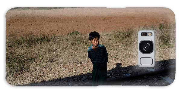 A Boy In Burma Looks Towards A Train From The Shadows Galaxy Case by Jason Rosette