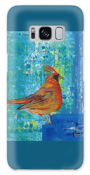 A Cardinal Came By Galaxy Case