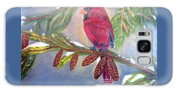 A Cardinal's Sweet And Savory Song Of Winter Thawing Painting Galaxy Case by Kimberlee Baxter