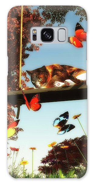A Cat Looks At The Butterflies Galaxy Case