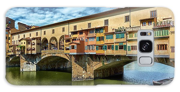 Ponte Vecchio On The Arno River Under A Blue Sky In Florence, Italy Galaxy Case