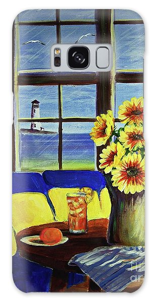 A Coastal Window Lighthouse View Galaxy Case