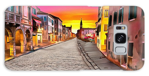 A Cobblestone Street In Venice Galaxy Case