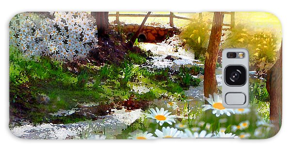 A Country Stream With Wild Daisies Galaxy Case