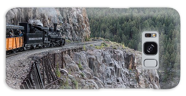 A Durango And Silverton Narrow Gauge Scenic Railroad Train Along A San Juan Mountains Precipice Galaxy Case by Carol M Highsmith