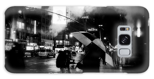A Foggy Night In New York Town - Checkered Umbrella Galaxy Case by Miriam Danar