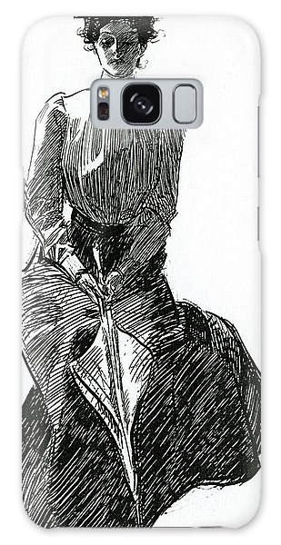 Beautiful Girl Galaxy Case - A Gibson Girl With Parasol by Charles Dana Gibson