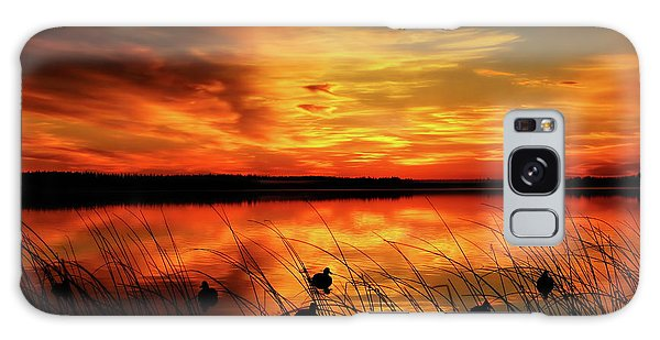 A Golden Sunrise Duck Hunt Galaxy Case