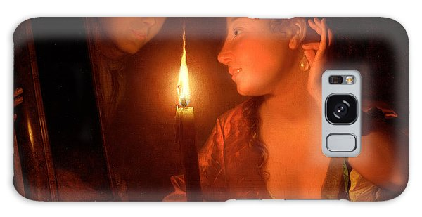 Earring Galaxy Case - A Lady Admiring An Earring By Candlelight by Godfried Schalcken