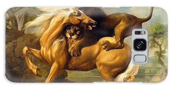 A Lion Attacking A Horse Galaxy Case