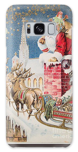A Merry Christmas Vintage Greetings From Santa Claus And His Raindeer Galaxy Case by R Muirhead Art