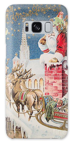 A Merry Christmas Vintage Greetings From Santa Claus And His Raindeer Galaxy Case