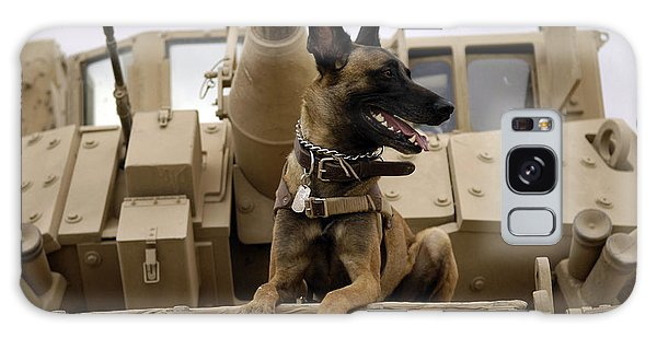 Galaxy Case featuring the photograph A Military Working Dog Sits On A U.s by Stocktrek Images